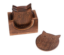 Sass & Belle Set Of 6 Wooden Owl Coasters