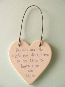 "East of India ""Friends are like angels you don't have to see them to know they are there"" Wooden Heart Gift tag"