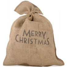 Have a very magical Christmas with this rustic style hessian sack, the words on the sack read 'Merry Christmas' in proud black print. Imagine having this vintage Christmas sack sitting alongside your Christmas Tree! Great for storing and delivering Christmas goodies and pretending that you're Santa himself!  Brand: East of India  Demotions :H75 x W50cm  Material : Jute  Product Type : Christmas