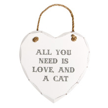 SASS & BELLE ALL YOU NEED IS LOVE & A CAT HEART PLAQUE