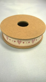 High quality  cream ribbon with Red Heart stiches design running  along the length of this ribbon.  Add a length of this 3m-long ribbon to any wrapped present, or can be used for craft projects.