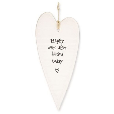 Happy Ever After Begins Today Porcelain Heart  Shabby Chic white porcelain heart, with an inspiring message. The words on this heart read: 'Happy Ever After Begins Today'. This is an excellent gift for someone special or a house decoration you can hang on the wall, door or furnishing.   Measures 13cm L & 6cm W  hanging loop