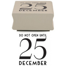 "Do Not Open Until 25 December Rubber Stamp  Add an individual touch to all your Christmas cards, tags, and presents with this rubber stamp which says ""Do Not Open Until 25 December Rubber""   Does not come with an ink pad  Measures 3.6cm Wide and 2cm High"