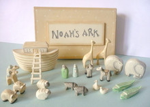 Noah's Ark Gift Boxed Set Hand Carved & Painted  Gorgeous Hand Carved & Painted Noah's Ark boxed set in the shabby chic style  Comes complete with Ark, Ladders, Noah & Wife and the pairs of animals Beautifully presented in a buttercream colour box with cream spots. Makes a great gift for the birth of a new baby boy or girl, Christening or1st Birthday present   PLEASE NOTE THIS IS NOT A TOY AND DOES NOT COMPLY WITH TOY STANDARDS DUE TO THE SMALL PARTS. CARE SHOULD BE TAKEN WITH THIS ITEM. IT IS DESIGNED AS A KEEPSAKE**         Measurements: 18.5 x 11.5 x 3 cm