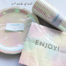 Talking Tables Iridescent Pastel Plates Bulk Pack- Pack of 48
