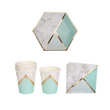 Mint Marble Tableware Party Pack
