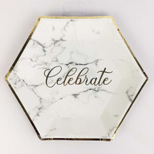 B4E Celebrate Marble Effect Party Tableware Pack