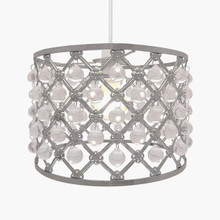 Easy Fit Pendant Light Shade Bijou Gems Ceiling Decoration  ( Grey)