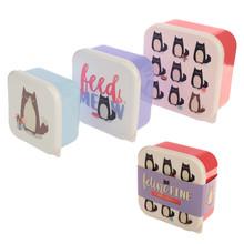 Set of 3 Feline Fine Cat Design Lunch Box