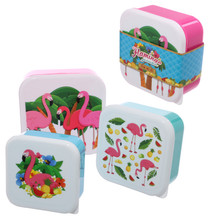 Set of 3 Lunch Boxes- Tropical Flamingo Design