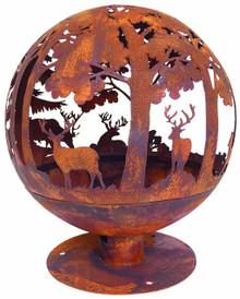 Oxidised Woodland Globe Speher Fire Pit Basket Bowl Cast Iron