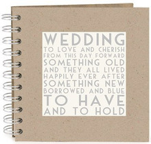 Wedding Guest Book  This is a lovely keepsake guest book for the happy couple on their wedding day.  The guest book has a soft grey card cover with raised cream wooden plaque on the front with printed words reading.  The guest book has a silver ring binder and 15 thick cream pages inside for all your wedding guests to write memorable messages to the happy couple on their special day.  made from:  card and paper  dimensions:  There are 15 thick card pages inside the book. Size-21.5cm by 21.5cm. 8.5'' by 8.5''