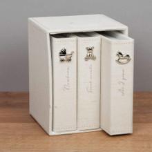 Juliana Linen Fabric Set of 3 Baby Photo Albums