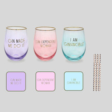 Lets Party Gin Glass, Coaster & Straw Set of 3