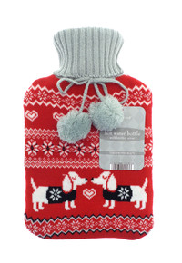 HOT WATER BOTTLES WITH TRENDY KNITTED COVER-Nordic Sausage Dog