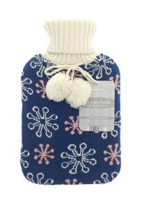 HOT WATER BOTTLES WITH TRENDY KNITTED COVER-SNOWFLAKES