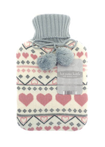HOT WATER BOTTLES WITH TRENDY KNITTED COVER-PINK HEART