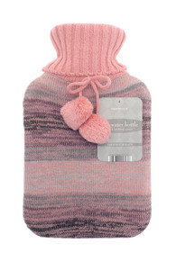 HOT WATER BOTTLES WITH TRENDY KNITTED COVER-PINK & GREY