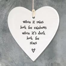Porcelain round heart-When it rains