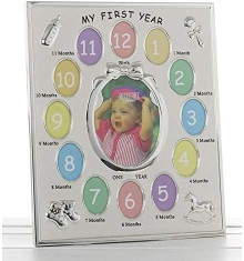 Two Tone My First Year Frame - Silver Multi Photo Frame with 13 Photos 50012