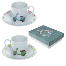 Scooter Speed King Design Espresso Cup & Saucer Set of 2
