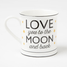 Everyone's favourite phrase is now on a bestselling ceramic mug! Show someone you care with the stylish 'Love you to the moon and back' mug. The lip and base of the mug have a black lining and gold stars adorn the phrase. Make sure you include this bestseller in your collection this season. •Dimension - 9 x 9 cm •Material - Stoneware •Colour - White/Cream, Black, Metallics •Sass & Belle Collection - Golden Stars & Arrows