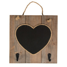 We love this heart chalkboard with hooks which is part of the pretty Ashley Farmhouse collection. Made from MDF this chalkboard features a rustic wood frame and two single hooks. •Dimension - 30 x 30 x 1.5 cm •Material - MDF •Colour - Black, Brown/Beige