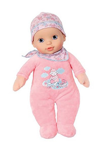 My First Baby Annabell is an ideal starter doll for younger. She has a beautiful face and wonderful, big eyes that your youngster will love. With a soft body, she wears a pretty pink romper and comes with a pink bottle.   Safety Warning  Suitable from birth onwards