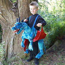 Mystical Ride On Dragon In A Blue Scale-like Fabric. • Can Be Easily Worn Over Any Outfit With Easy Adjustable Straps And Velcro Fastening. • The Red Shiny Wings Have Wrist Loops. • The Reins Hold The Magnificent Head High As You Bound Along. • Costume Does Not Include: Top Or Trousers.