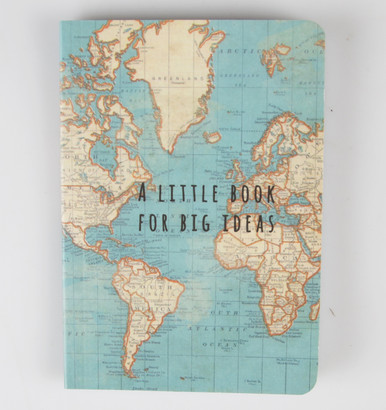 Dimension - 13 x 9 x 0.5 cm •Material - Paper •Colour - Blue, Multi •Sass & Belle Collection - Vintage Map  A great little book which does exactly what it says on the front, 'A little book for big ideas'.   This pocket notebook has a predominantly blue coloured, vintage style map on the front and the back cover. The edges are slightly rounded and it is pocket sized. A perfect little gift or stocking filler. The pages inside are blank.35 pages notebook.