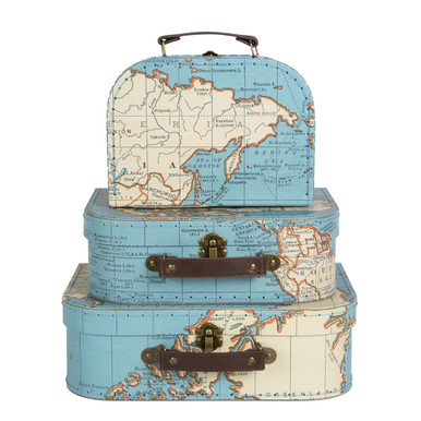 Dimension - 29 x 20 x 9 / 25 x 18 x 8 / 20 x 15 x 8 cm •Material - Paper, Antique Finish Metal, Leather •Colour - Blue, White/Cream  This latest installment to the Sass & Belle suitcase family is in one of the best prints ever. Mixing together the success of the Vintage Map collection and one of our customer's all time favourites, the suitcase, behold one of the best products of 2016! The set of three snuggly fit inside on another, or when filled, can be neatly stacked. The set is made out of strong card and is detailed with leatherette straps and brass fixings. Discover the rest of the Vintage Map collection, including some other great new pieces for the new season.