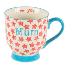 Introducing the Bohemian Stars mum mug! The continued popularity of our Bohemian Country Kitchen range have led us to create some personalised mugs. Featuring the signature red colourway, the design is composed of a scattering of stars and a homemade touch. At Sass & Belle, we believe it's all in the detail and this mugs bears a surprise message - the inside reads 'love you'. A perfect way to show your lovely mum you care.  Dimensions - 10.8 x 14 x 0.5 cm •Material - Ceramic •Colour - White/Cream, Red, Blue
