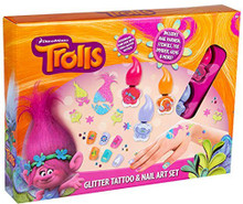 Trolls Glitter Tattoo & Nail Art Set Children's Gift