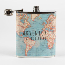 Vintage Map 'Adventure is out there' Hip Flask Gift