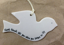 Porcelain Bird - 'Good Friends Lift You When You Forget To Fly'   This would make an ideal gift for someone who you consider to be someone special! It's a perfect little decoration to place with pride in the home and shows how much they mean to you.  It is a beautiful gift or decoration for anywhere around the home or to gift to someone special in your life. It can be gifted to the love of your life  or friends to a beautiful piece of inspiration.   It can be gifted at any occasion like festival, birthday, anniversary or farewell.     The bird comes with twine string attached and is engraved with the words 'Good Friends Lift You When You Forget To Fly.  A perfect gift for any occasion!     Package Dimensions: 21.8 x 8.2 x 2.8 cm