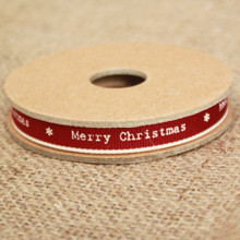 East of India 'Merry Christmas' Ribbon Red White Edging Narrow 3m Craft Xmas