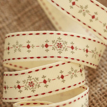 Christmas Ribbon Reel - Snowflakes - Cream, Grey and Red