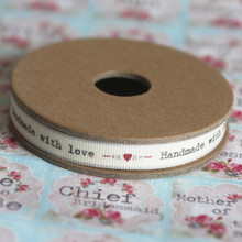 'Handmade With Love' With Hearts And Kisses Christmas Ribbon 3 Metres