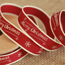 East of India Christmas Ribbon - Merry Christmas and Snowflake