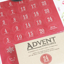 East of India Vintage Style Advent Set - 24 Envelopes / Stickers - DIY Calendar