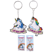 Pack of 2 Fun Unicorn Design PVC Keyrings
