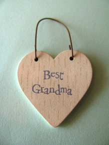 East of India Best Grandma wooden gift tag heart