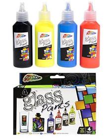 Grafix Set of 4 Glass Paints - Red Blue Yellow Black