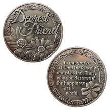 LUCKY COIN SENTIMENTAL GOOD LUCK COINS ENGRAVED MESSAGE KEEPSAKE GIFT SET CHARM (Dearest Friend)