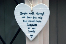 Porcelain Friendship Hanging Heart - People walk ......