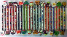 24 CHRISTMAS CHILDRENS PENCILS & RUBBERS ERASERS SCHOOL CRAFT DRAWING ART SET