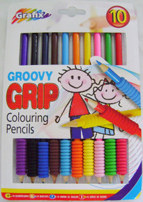 NEW 9 GROOVY GRIP COLOURING PENCIL SOFT EASY GRIPS GRAFIX