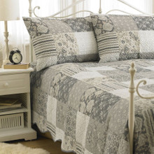 3 Piece Vienna Patchwork Embossed Quilted Bedspread Set