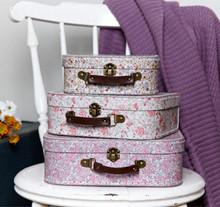 Set of 3 Vintage Floral Storage Suitcase