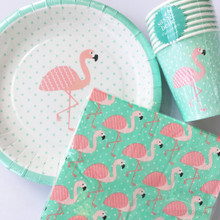Tropical Flamingo PlatesNapkinsCups. Tableware Party Pack    Create a Flamingo themed Party with the Tropical Flamingo Party Pack!  The Napkins and Cups are designed in turquoise with white star detailing and flamingos The plate include a similar style with a main flamingo design which works perfectly with the cups and napkins! Super Stylish designs for beautiful unique party tableware! This pack is perfect for themed Parties, Children's Birthday Parties and much more! Pack contains- Napkins (pack of 20) Cups (pack of 8) Plates (pack of 8)